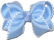 White and Millenium Blue Toddler Moonstitch Bow