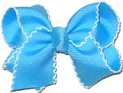 Mystic Blue and White Toddler Moonstitch Bow