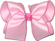 Light Pink and Hot Pink Large Moonstitch Bow