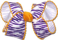 Purple and White Tiger Stripes and Yellow Gold Medium Moonstitch Bow