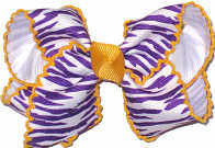 Purple and White Tiger Stripes and Yellow Gold Toddler Moonstitch Bow