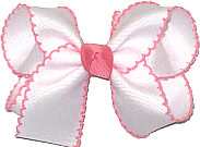 Medium White and Shell Pink Moonstitch Bow