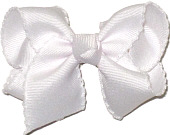 Toddler White and White Moonstitch Bow