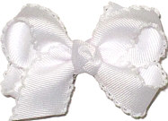 Small White and White Moonstitch Bow