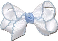 Small White and Millenium Blue Moonstitch Bow