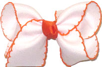 Toddler White and Orange Moonstitch Bow
