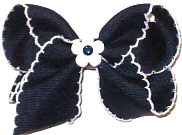 Toddler Navy and White Moonstitch with Matching Daisy Miniature  Bow