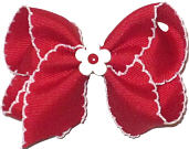 Toddler Red and White Moonstitch with Matching Daisy Miniature  Bow