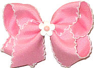 Toddler Pink and White Moonstitch with Matching Daisy Miniature  Bow
