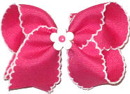 Toddler Shocking Pink and White Moonstitch with Matching Daisy Miniature  Bow