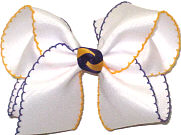 Large Purple and Yellow Gold Moonstitch on White with Purple and Yellow Gold Knot  Bow