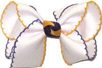 Medium Purple and Yellow Gold Moonstitch on White with Purple and Yellow Gold Knot  Bow