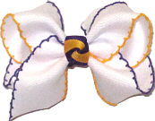 Toddler Purple and Yellow Gold Moonstitch on White with Purple and Yellow Gold Knot  Bow