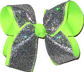 Silver Scale over Neon Lime Large Double Layer Bow