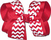 Large Red and White School Bow