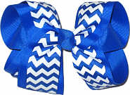 Electric Blue and White Large Double Layer Bow