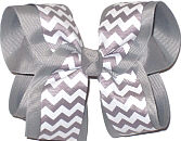 Large Gray and White School Bow