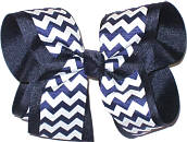Large Navy and White School Bow