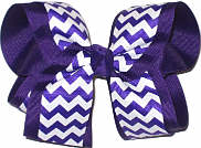 Large Regal Purple and White School Bow