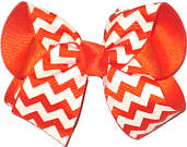 Orange and White Medium Double Layer Bow