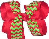 Red and Green Large Double Layer Bow