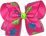 Blue and green Glitter Dot Chiffon over Shocking Pink Large Double Layer Bow