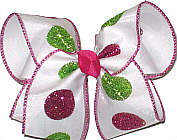 Shocking Pink and Green Dot Chiffon over White Large Double Layer Bow