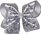 Floral Silver Glitter Swirl Chiffon over Gray Large Double Layer Bow