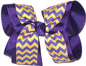 Purple and Yellow Gold Large Double Layer Bow