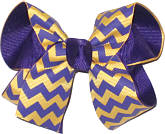 Purple and Yellow Gold Medium Double Layer Bow