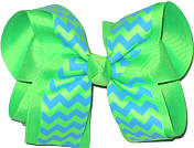 Neon Green and Turquoise Large Double Layer Bow