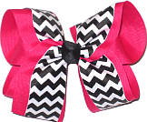 Shocking Pink Black and White Large Double Layer Bow