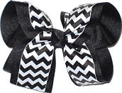 Black and White Large Double Layer Bow