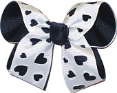 Navy and White Medium Double Layer Bow