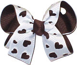 Brown and White Medium Double Layer Bow
