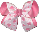 Pink and White Medium Double Layer Bow