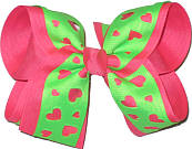 Shocking Pink and Neon Green Large Double Layer Bow