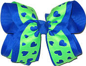 Electric Blue and Neon Green Large Double Layer Bow
