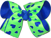 Electric Blue and Neon Green Medium Double Layer Bow