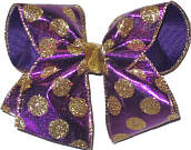 Purple and Large Gold Glitter Dots Large Double Layer Bow