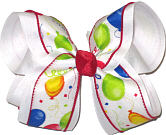 Party Balloons on White Large Double Layer Bow