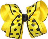 Maize with Black Dots and Trim over Maize Large Double Layer Bow