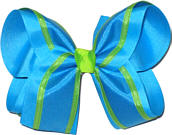 Turquoise and Apple Green over Turquoise Large Double Layer Bow
