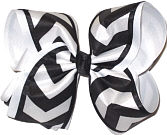 Black and White over White MEGA Extra Large Double Layer Bow
