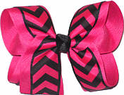 Shocking Pink and Black Large Double Layer Bow