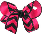 Shocking Pink and Black Medium Double Layer Bow