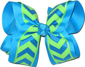 Turquoise and Neon Green Large Double Layer Bow