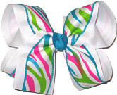Shocking Pink Apple Green and Mystic Blue Zebra over White Large Double Layer Bow