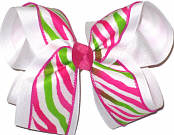Shocking Pink and Apple Green Zebra over White Large Double Layer Bow