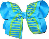 Mystic Blue and Apple Green over Mystic Blue Large Double Layer Bow